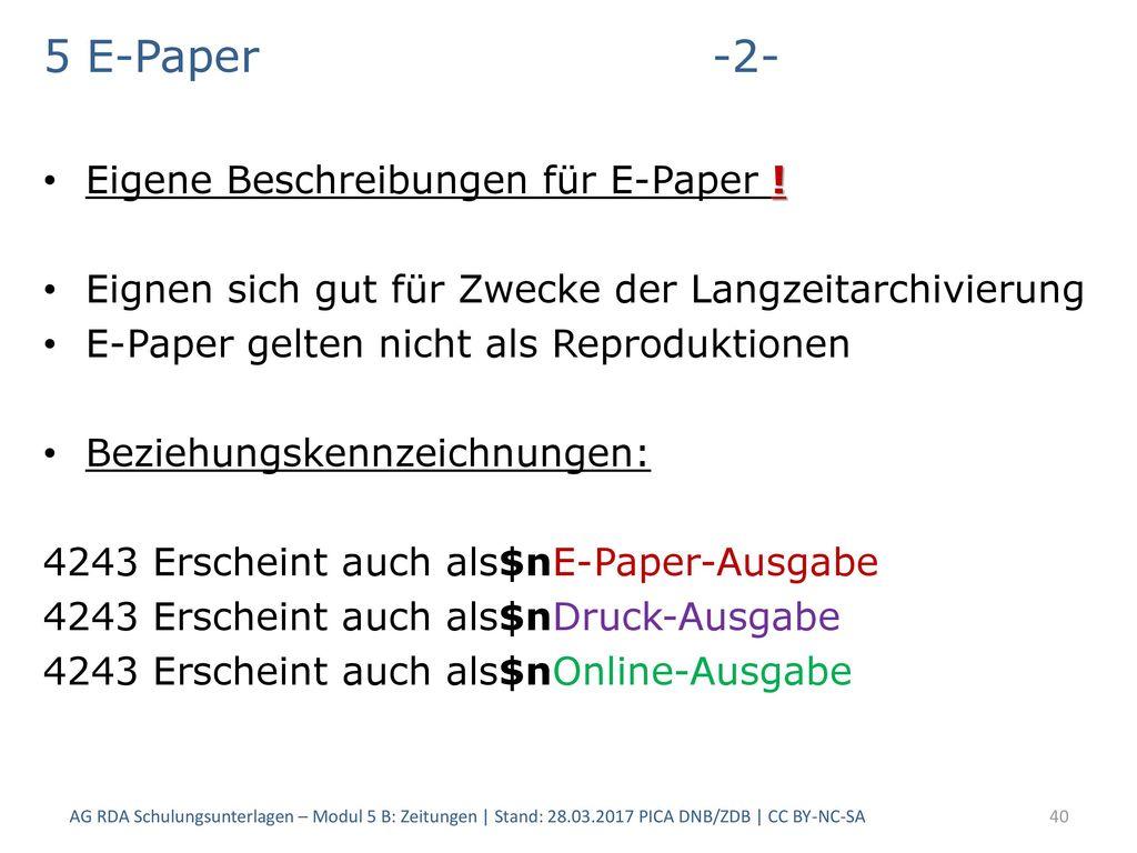 5 E-Paper -2- Eigene Beschreibungen für E-Paper !
