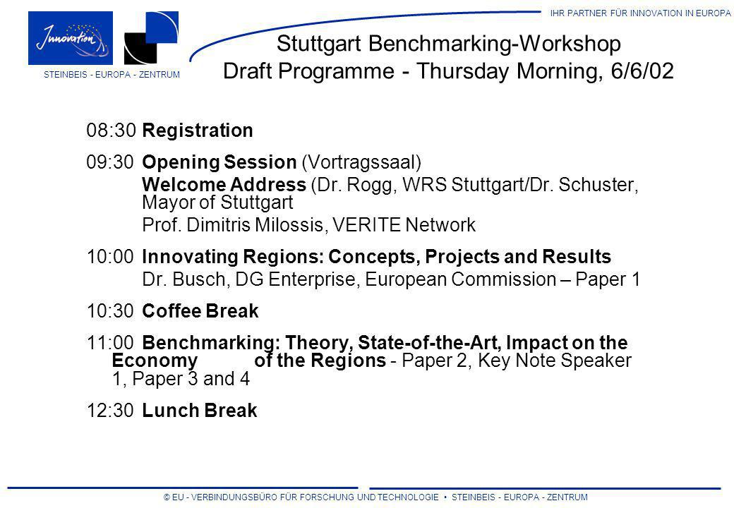 Stuttgart Benchmarking-Workshop Draft Programme - Thursday Morning, 6/6/02