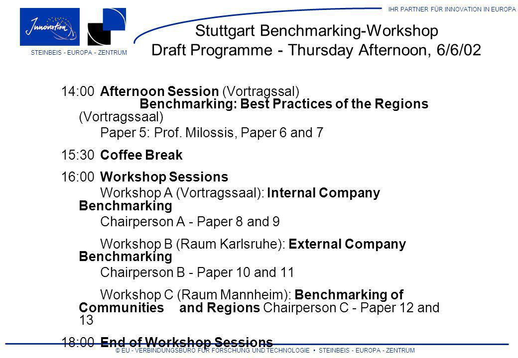 Stuttgart Benchmarking-Workshop Draft Programme - Thursday Afternoon, 6/6/02