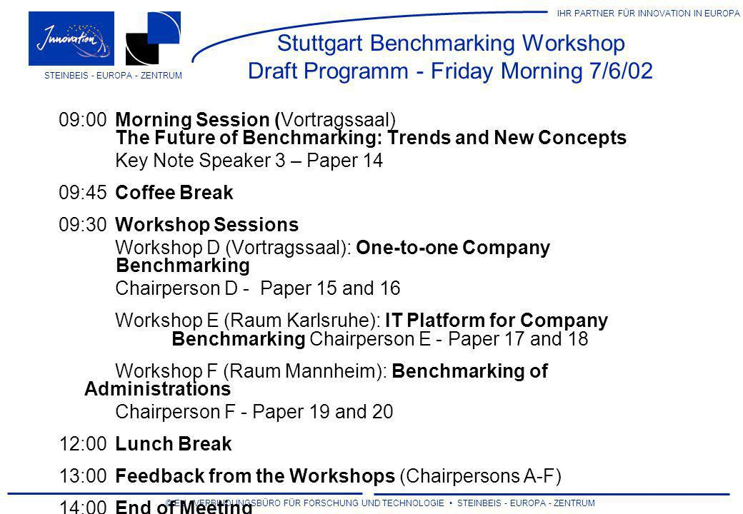 Stuttgart Benchmarking Workshop Draft Programm - Friday Morning 7/6/02