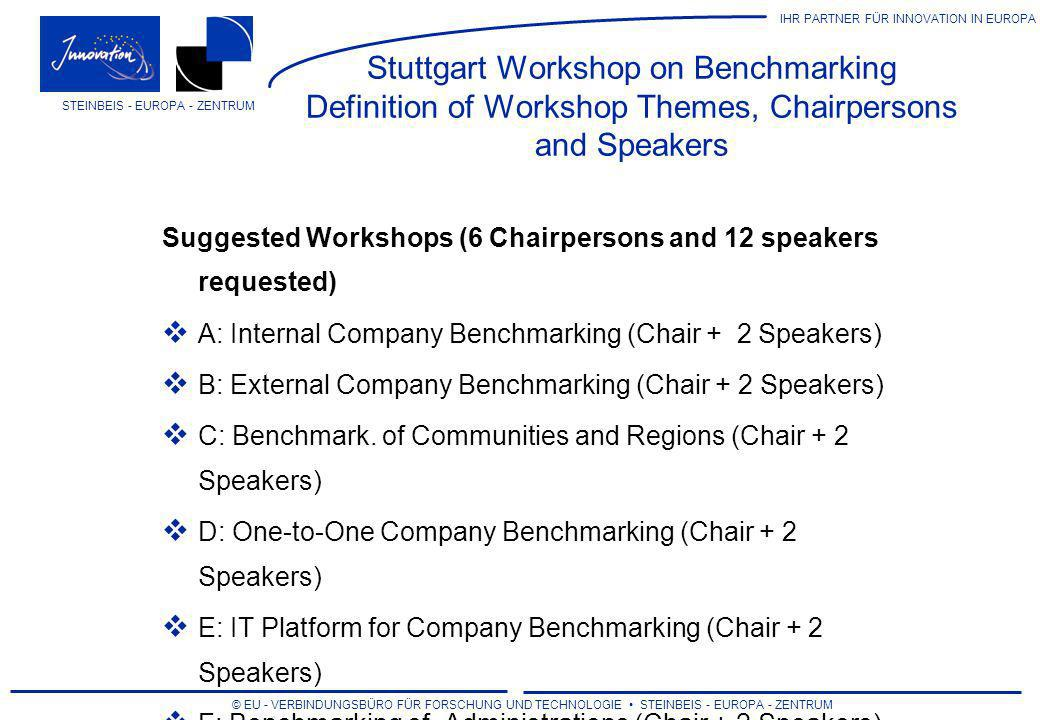 Stuttgart Workshop on Benchmarking Definition of Workshop Themes, Chairpersons and Speakers