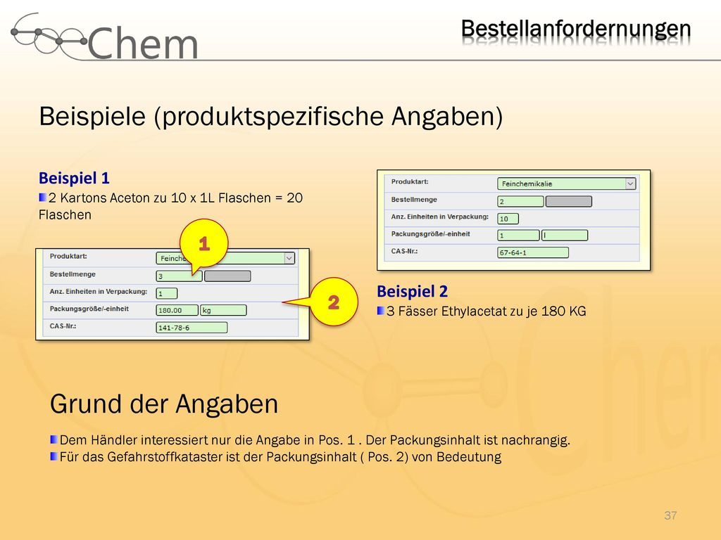 Beispiele (produktspezifische Angaben)