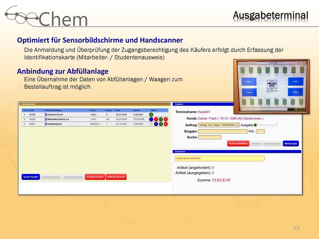 Ausgabeterminal Optimiert für Sensorbildschirme und Handscanner