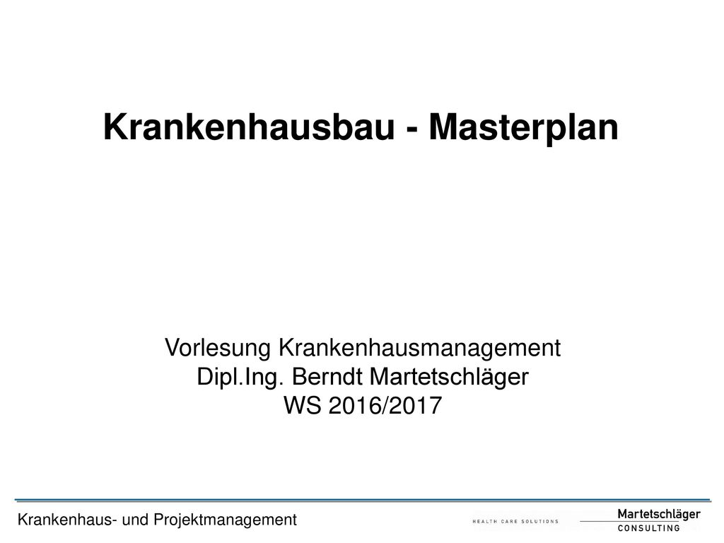 Krankenhausbau - Masterplan