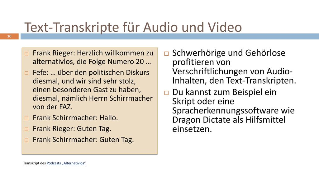 Text-Transkripte für Audio und Video