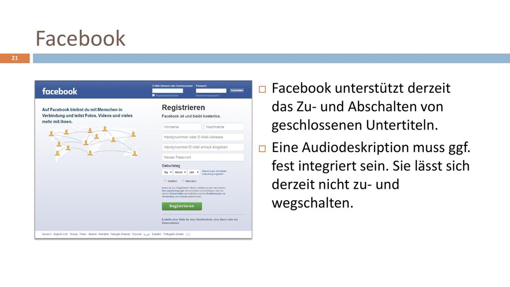 Facebook Facebook unterstützt derzeit das Zu- und Abschalten von geschlossenen Untertiteln.