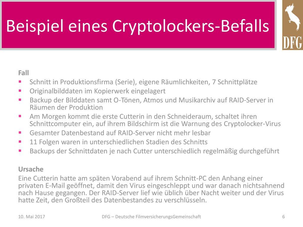 Beispiel eines Cryptolockers-Befalls