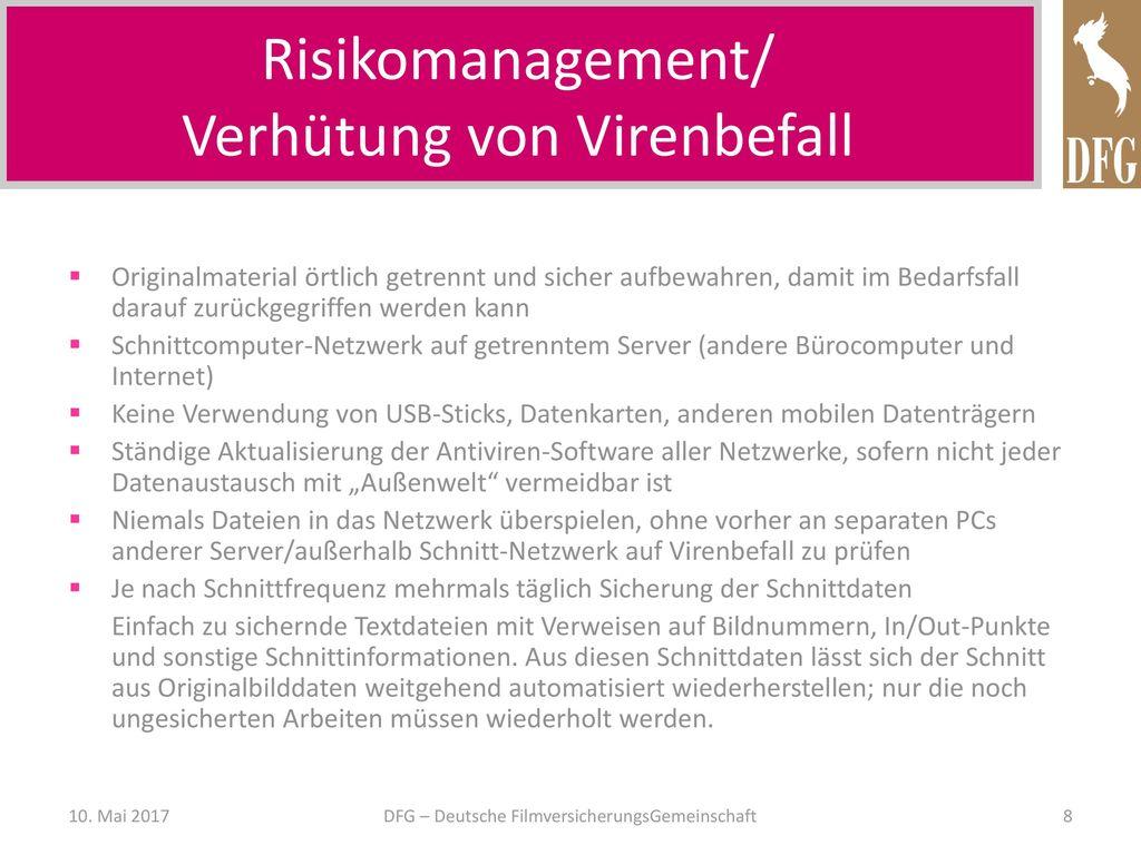 Risikomanagement/ Verhütung von Virenbefall