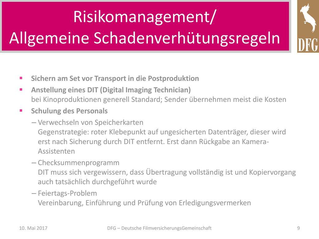 Risikomanagement/ Allgemeine Schadenverhütungsregeln