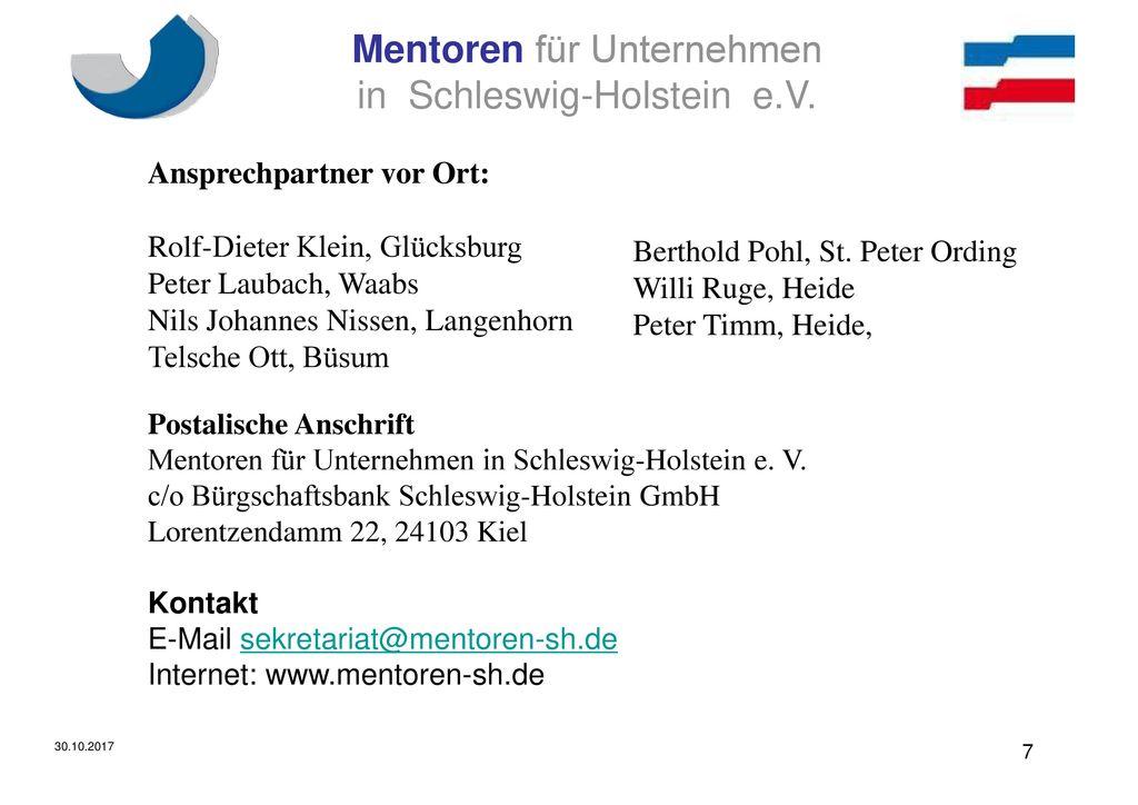 Ansprechpartner vor Ort: Rolf-Dieter Klein, Glücksburg