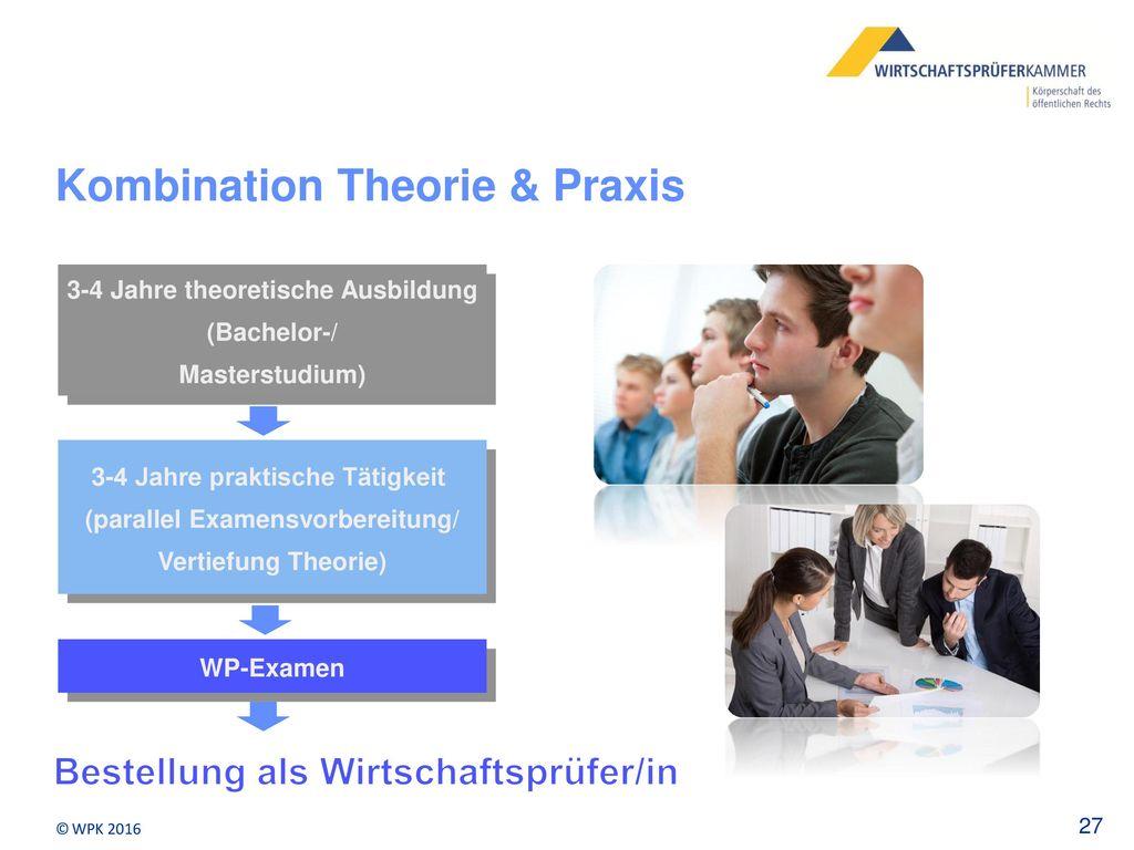 3-4 Jahre theoretische Ausbildung (Bachelor-/ Masterstudium)