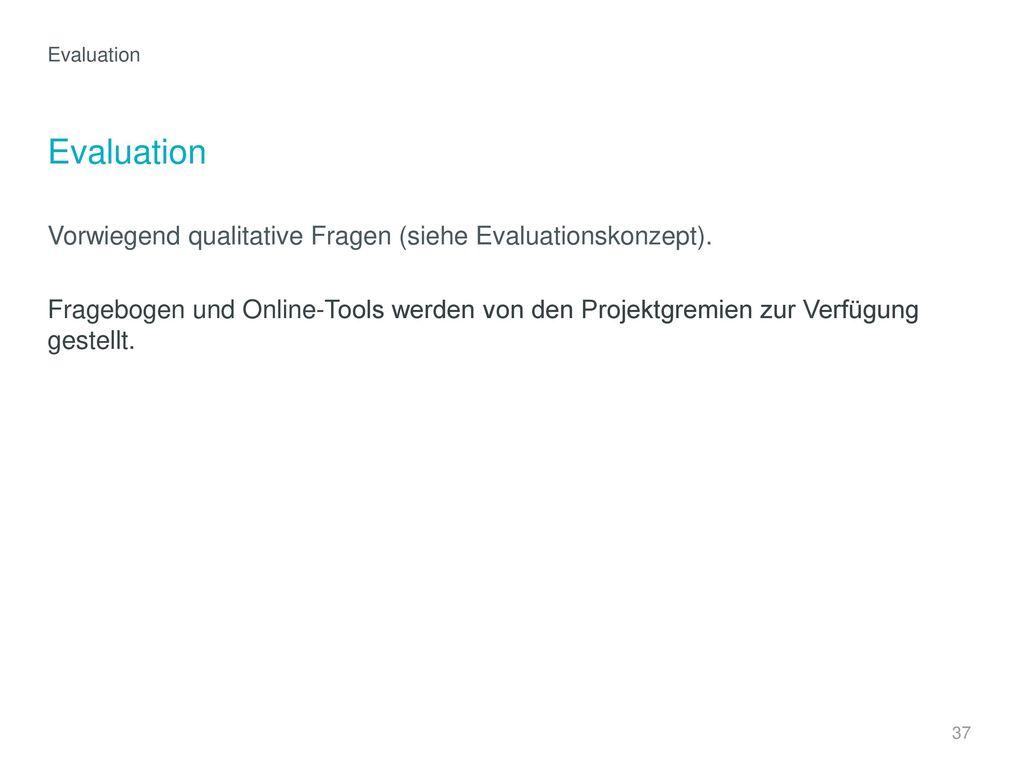 Evaluation Vorwiegend qualitative Fragen (siehe Evaluationskonzept).