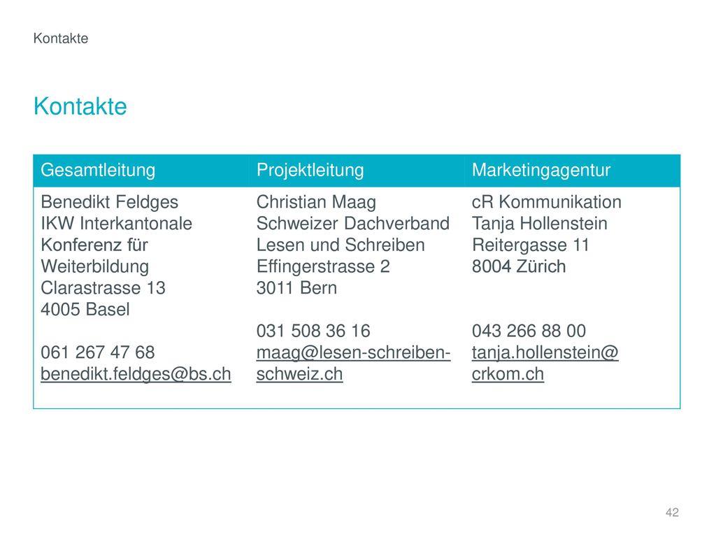 Kontakte Gesamtleitung Projektleitung Marketingagentur