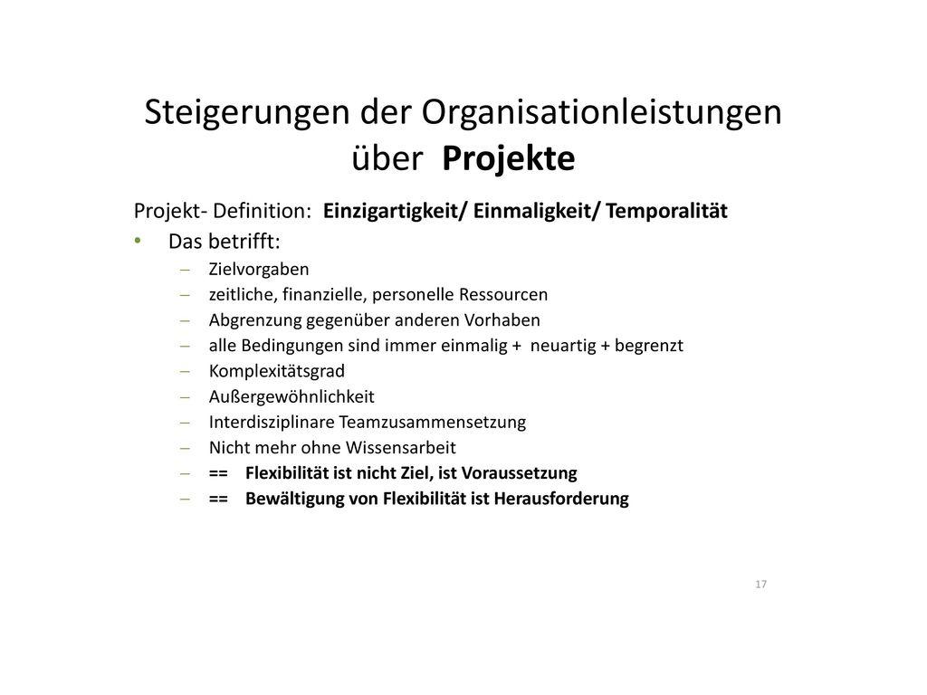 Steigerungen der Organisationleistungen über Projekte