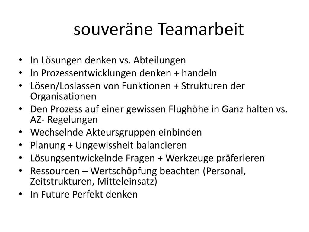 souveräne Teamarbeit In Lösungen denken vs. Abteilungen