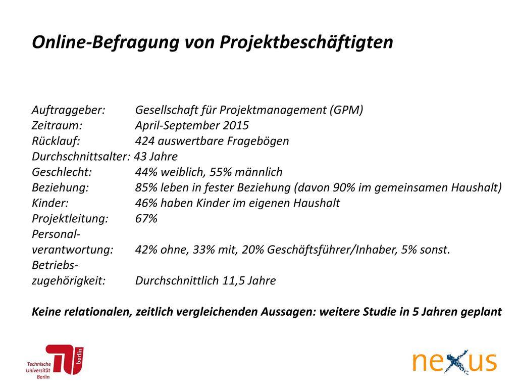 Online-Befragung von Projektbeschäftigten
