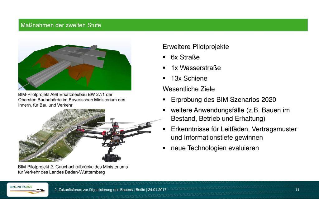 Erweitere Pilotprojekte 6x Straße 1x Wasserstraße 13x Schiene