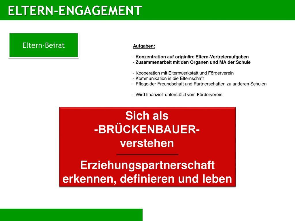 ELTERN-ENGAGEMENT Sich als -BRÜCKENBAUER- verstehen