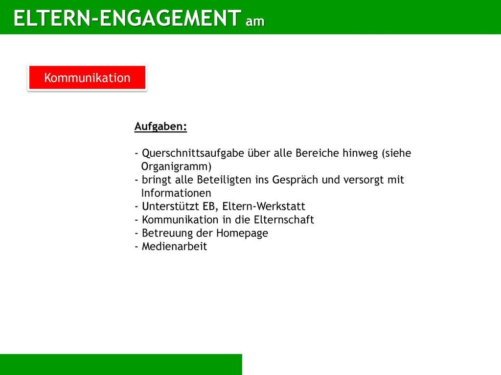 ELTERN-ENGAGEMENT am Kommunikation Aufgaben: