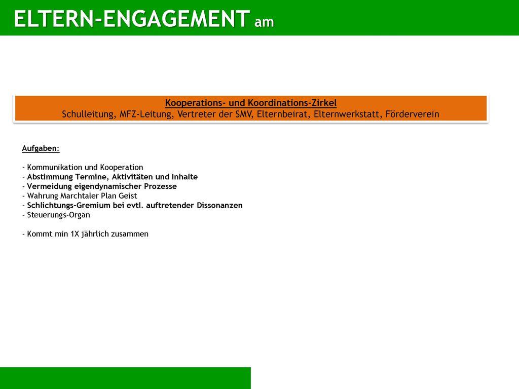 ELTERN-ENGAGEMENT am Kooperations- und Koordinations-Zirkel Schulleitung, MFZ-Leitung, Vertreter der SMV, Elternbeirat, Elternwerkstatt, Förderverein.