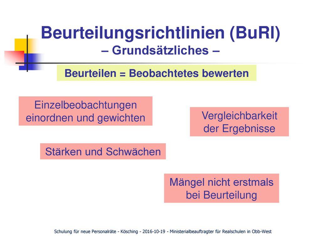 Beurteilungsrichtlinien (BuRl) – Grundsätzliches –