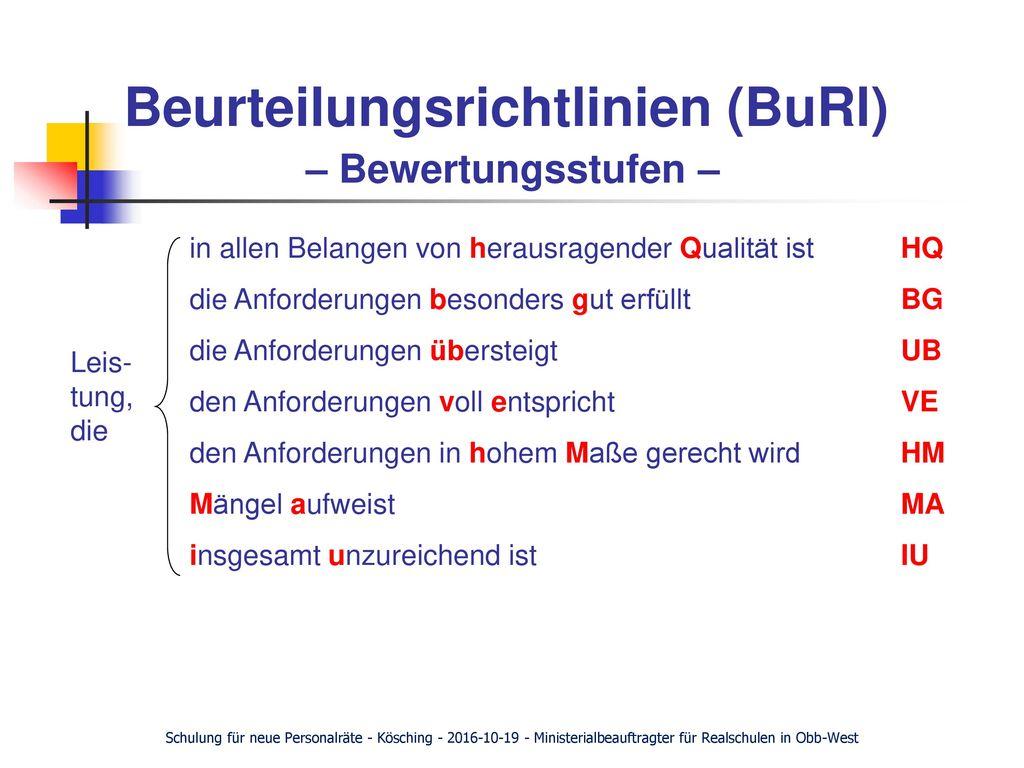 Beurteilungsrichtlinien (BuRl) – Bewertungsstufen –