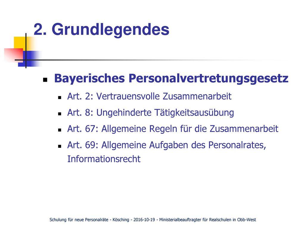2. Grundlegendes Bayerisches Personalvertretungsgesetz