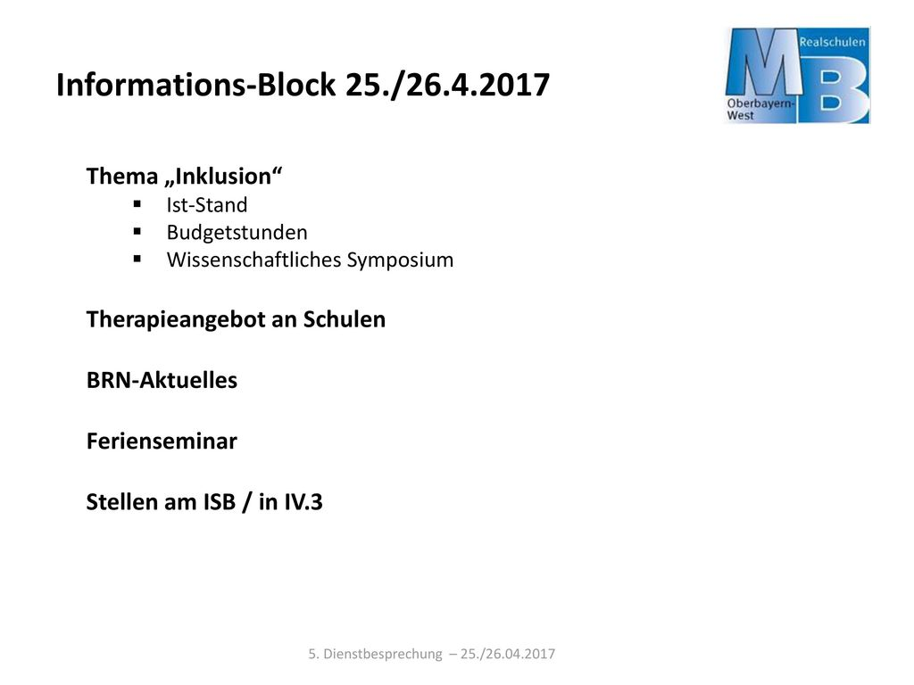 "Informations-Block 25./26.4.2017 Thema ""Inklusion"