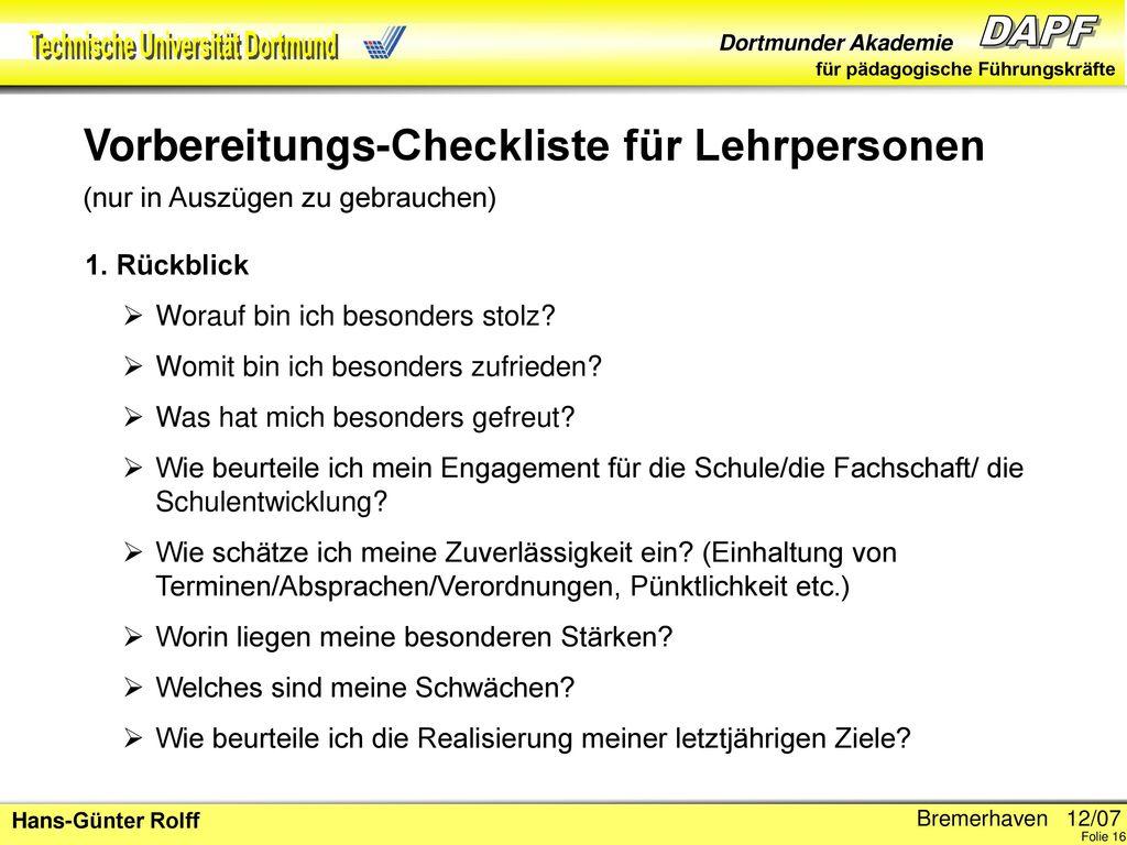 Vorbereitungs-Checkliste für Lehrpersonen (nur in Auszügen zu gebrauchen)