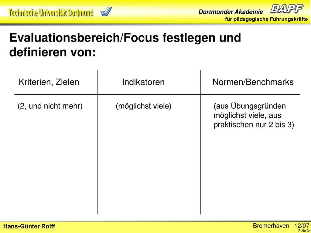 Evaluationsbereich/Focus festlegen und definieren von: