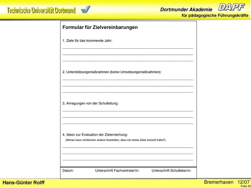 Formular für Zielvereinbarungen