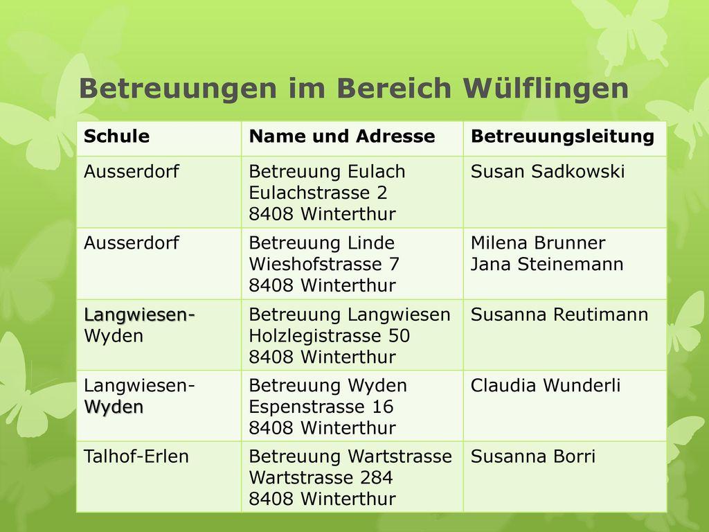 Betreuungen im Bereich Wülflingen