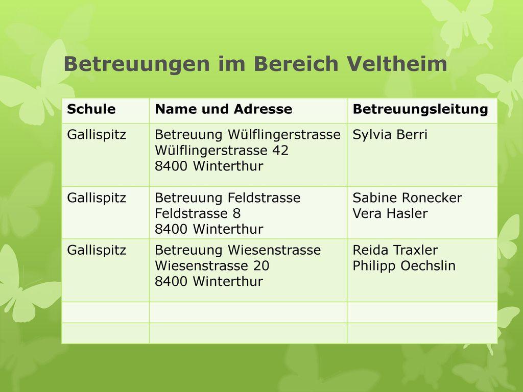 Betreuungen im Bereich Veltheim