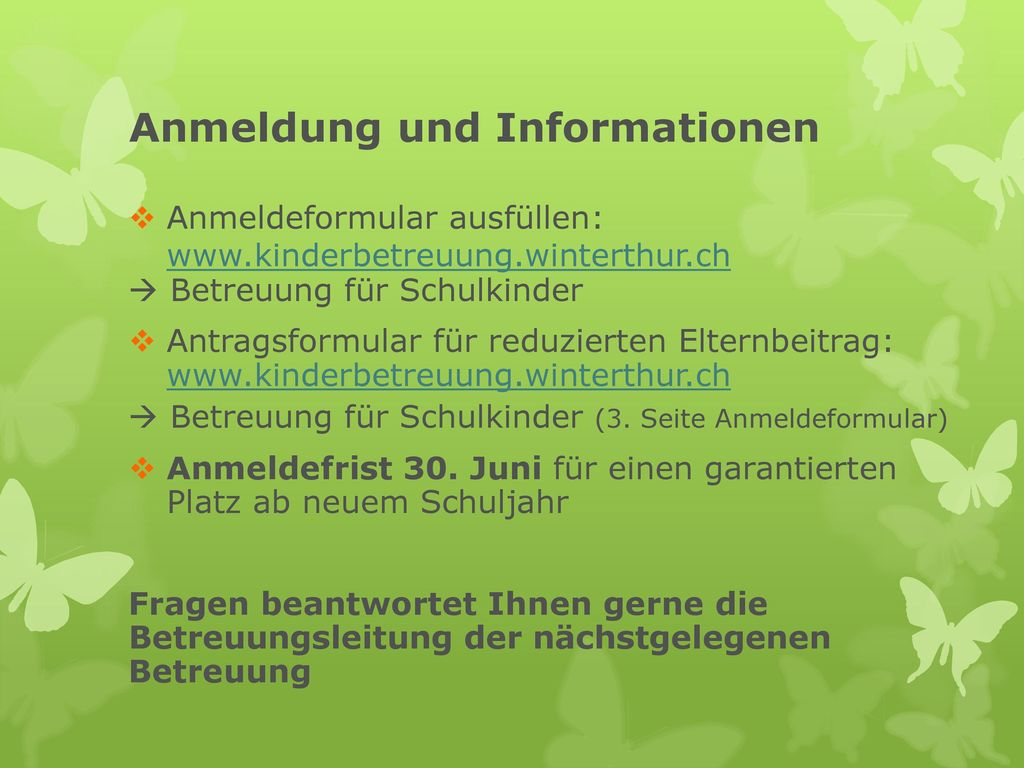 Anmeldung und Informationen