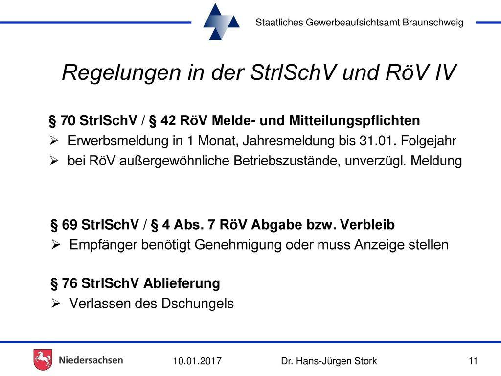 Regelungen in der StrlSchV und RöV IV