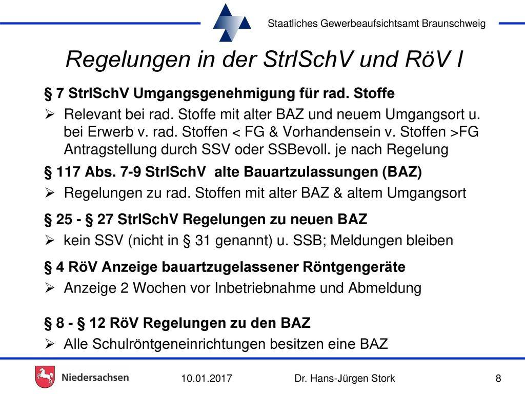 Regelungen in der StrlSchV und RöV I