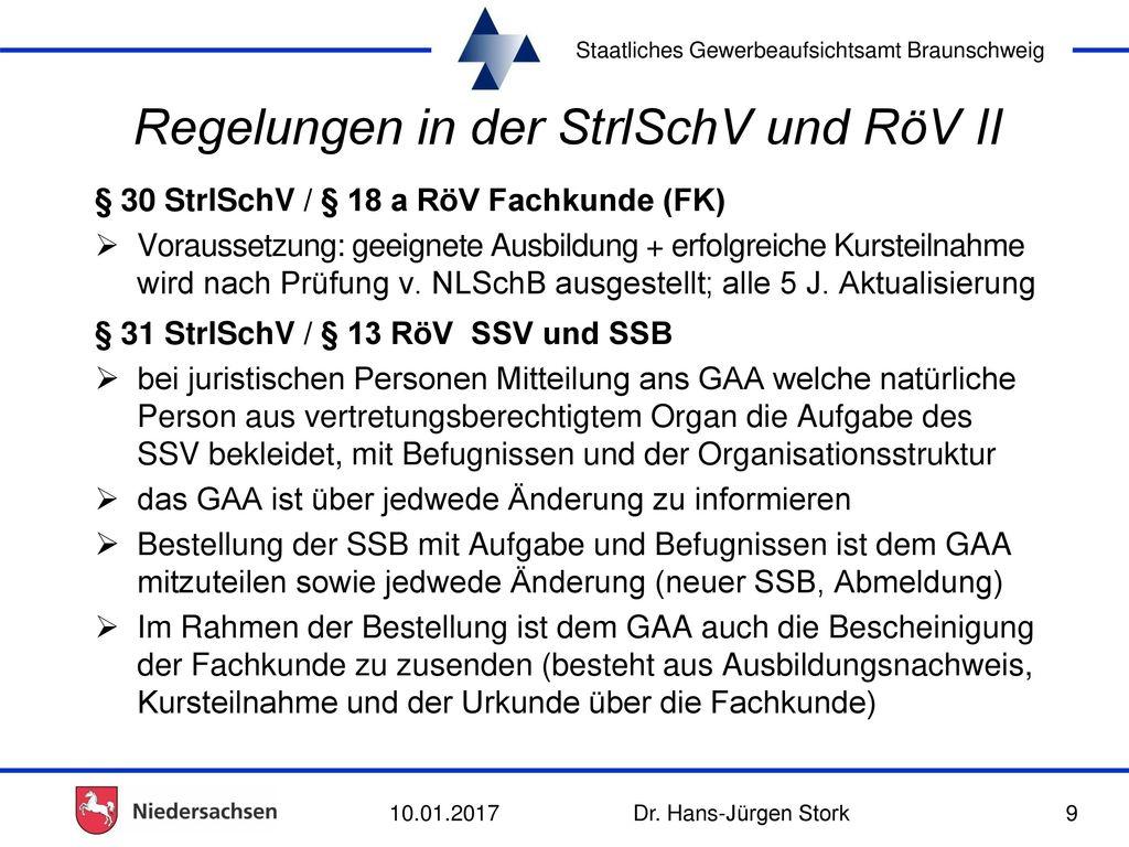 Regelungen in der StrlSchV und RöV II