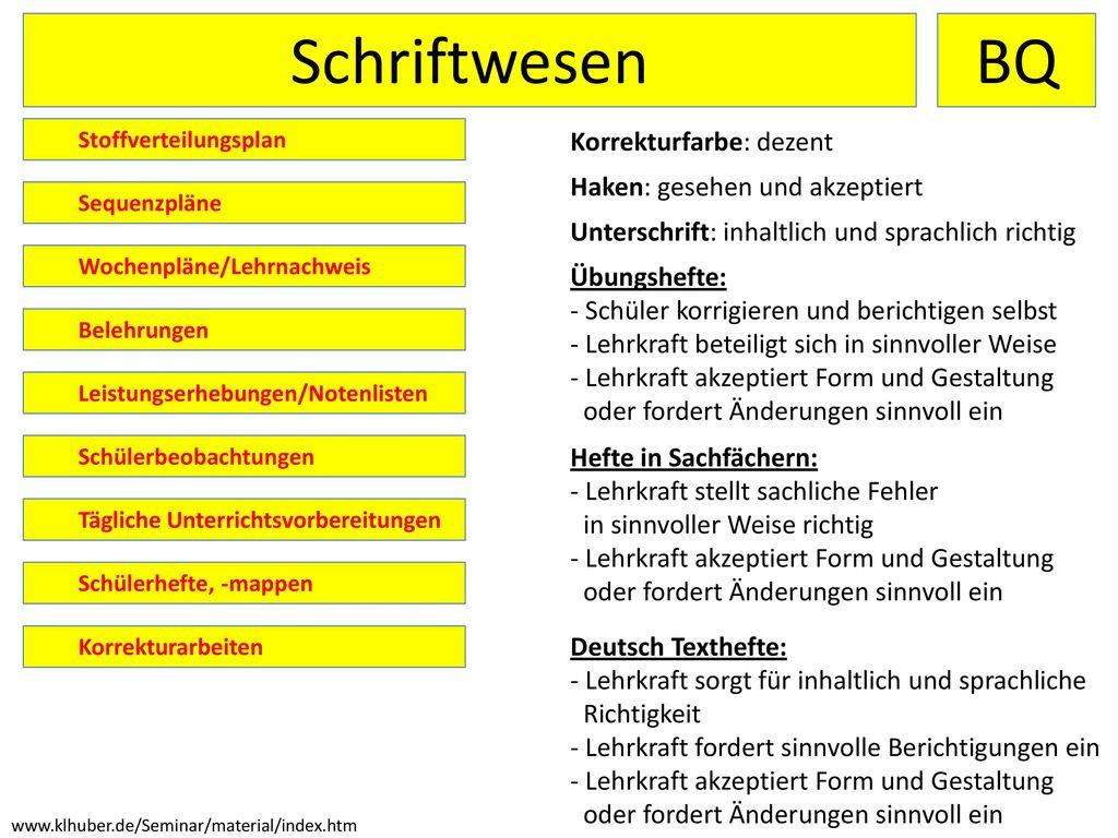 Schriftwesen BQ Korrekturfarbe: dezent Haken: gesehen und akzeptiert