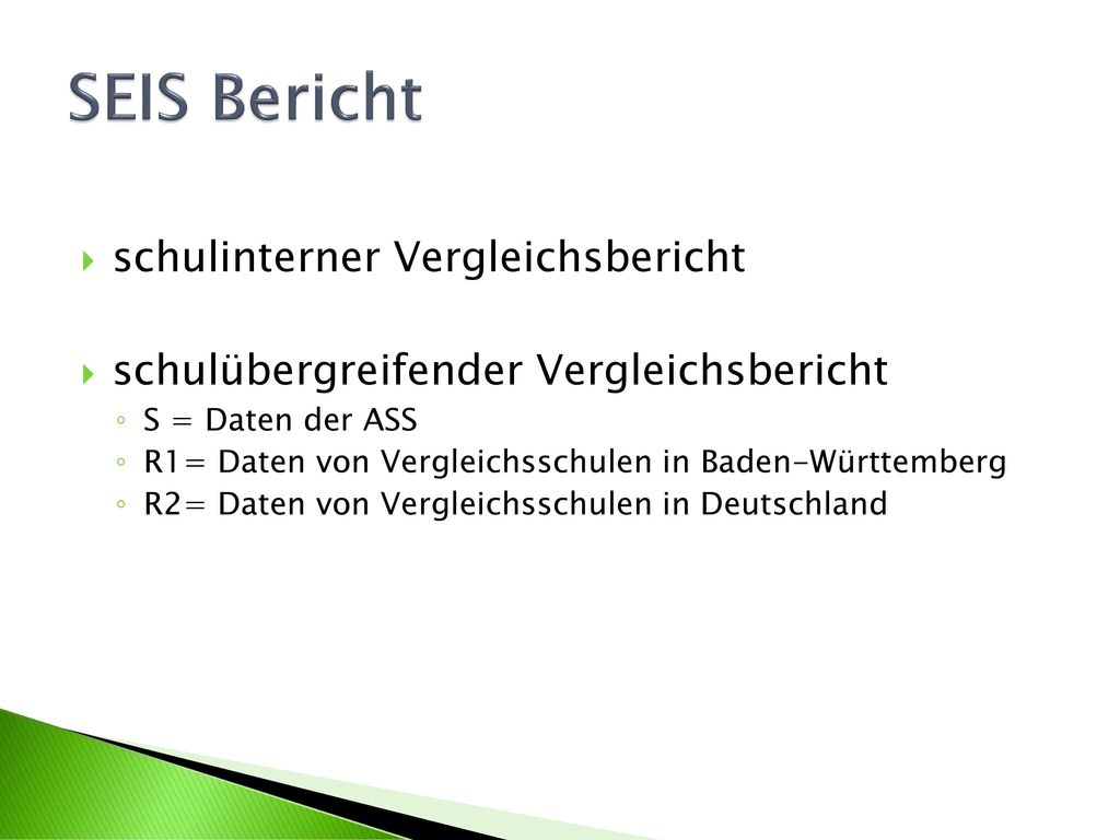 SEIS Bericht schulinterner Vergleichsbericht