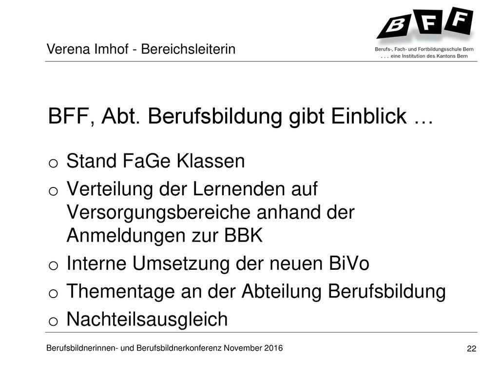 BFF, Abt. Berufsbildung gibt Einblick …