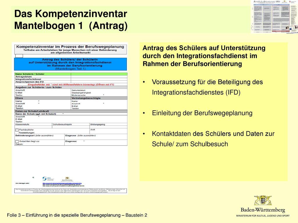 Das Kompetenzinventar Mantelbogen 1 (Antrag)