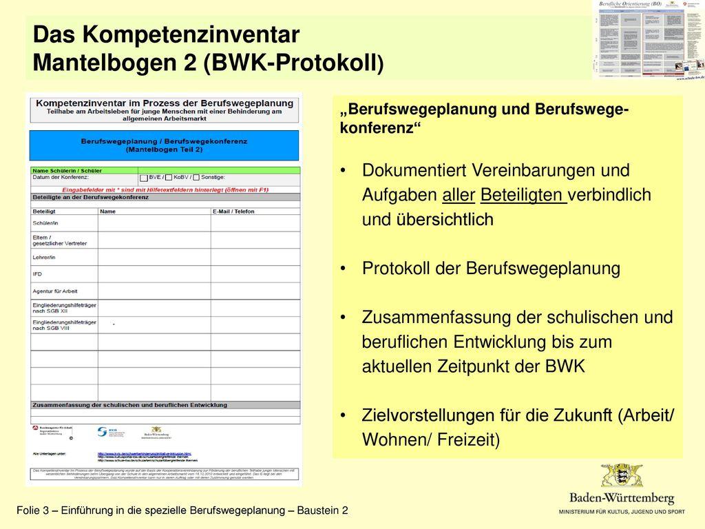 Das Kompetenzinventar Mantelbogen 2 (BWK-Protokoll)