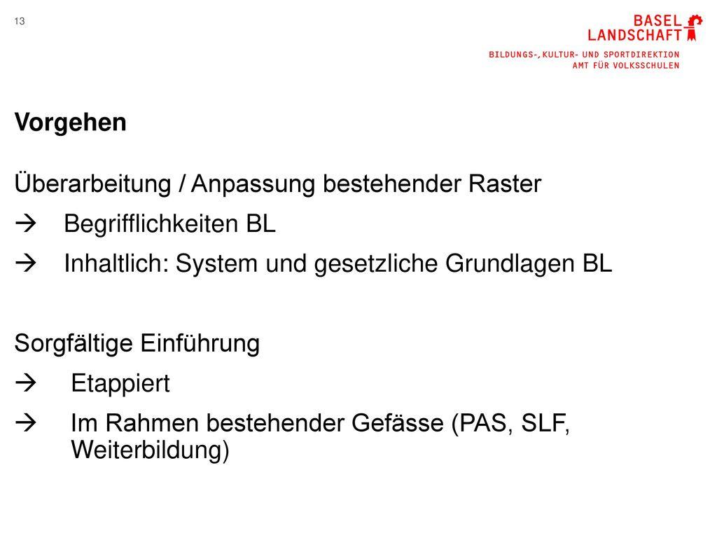 Vorgehen Überarbeitung / Anpassung bestehender Raster. Begrifflichkeiten BL. Inhaltlich: System und gesetzliche Grundlagen BL.