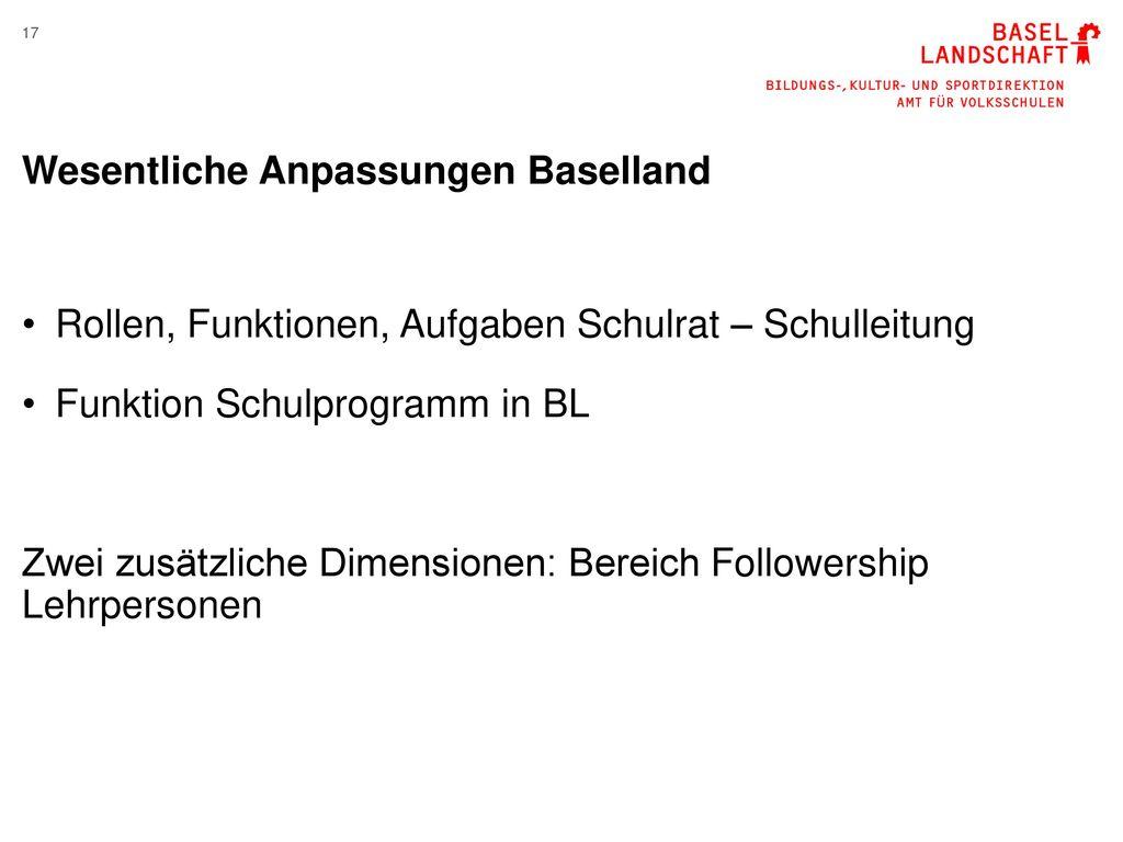 Wesentliche Anpassungen Baselland