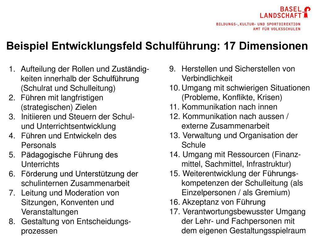 Beispiel Entwicklungsfeld Schulführung: 17 Dimensionen