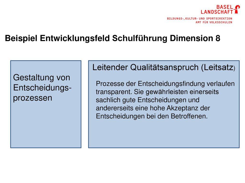 Beispiel Entwicklungsfeld Schulführung Dimension 8