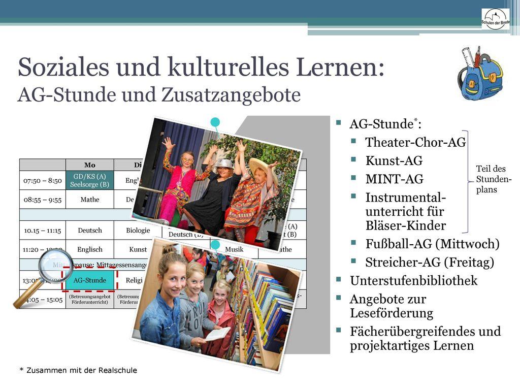 Soziales und kulturelles Lernen: AG-Stunde und Zusatzangebote