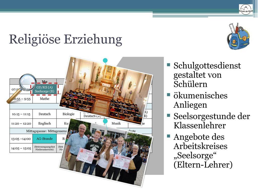 Religiöse Erziehung Schulgottesdienst gestaltet von Schülern