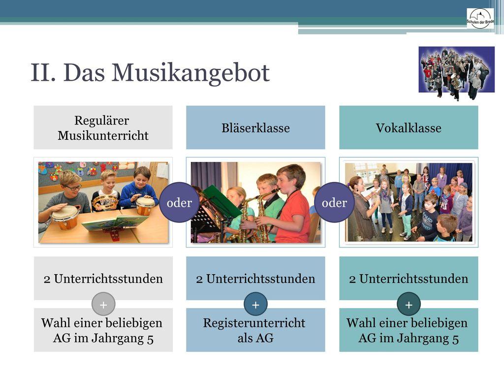 II. Das Musikangebot Regulärer Musikunterricht Bläserklasse