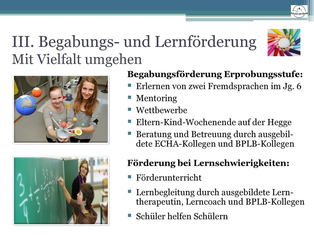 III. Begabungs- und Lernförderung Mit Vielfalt umgehen